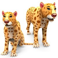 Rigged And Animated Cartoon Leopard