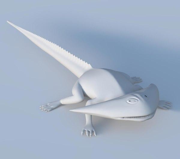 3D diplocaulus salamander extinct