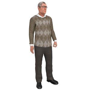 3D rigged old man model