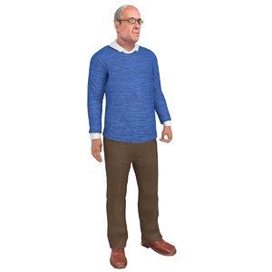 3D model rigged old man
