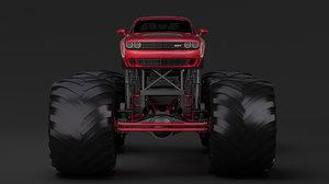 3D monster truck dodge challenger