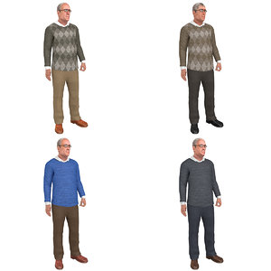 3D pack rigged old man