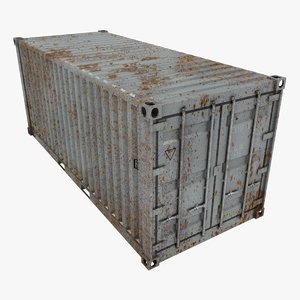 3D rusty container 20ft gray