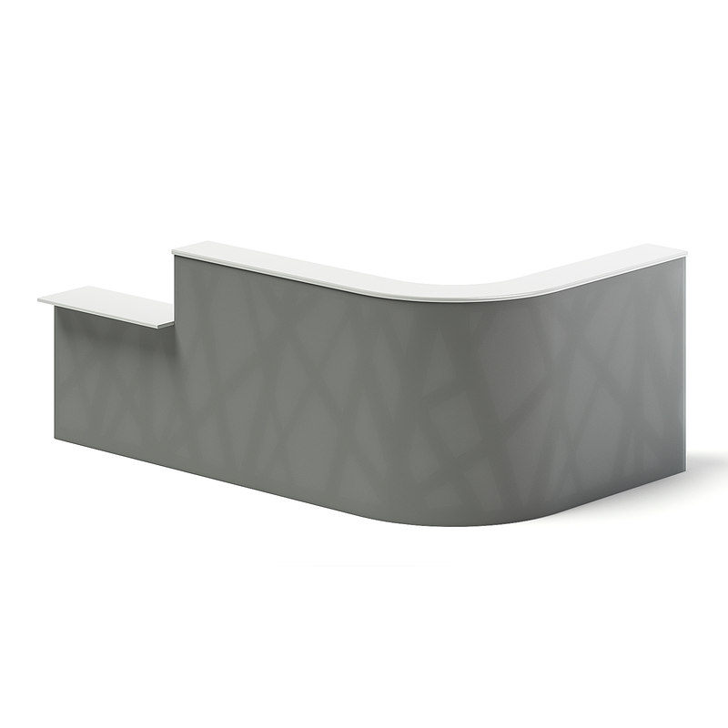3D model long rounded reception desk