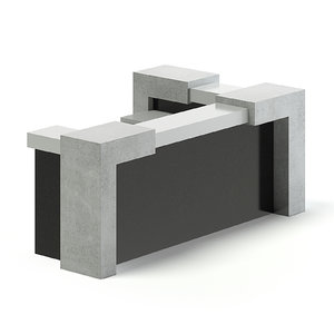 3D black reception desk model
