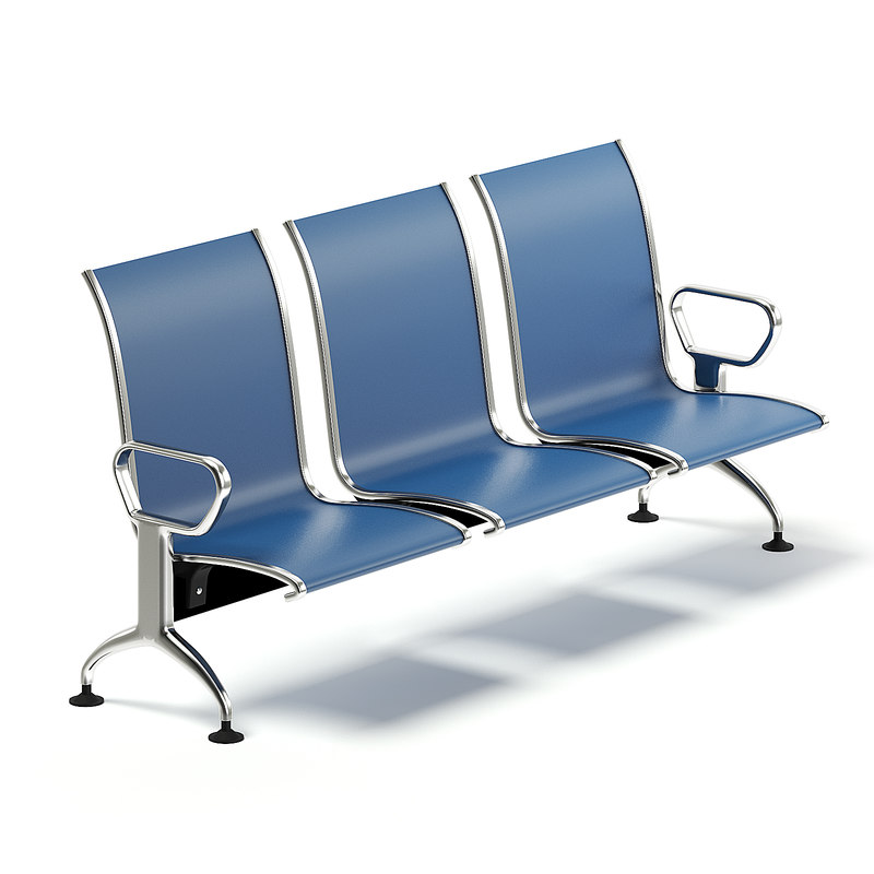 3D blue waiting chairs
