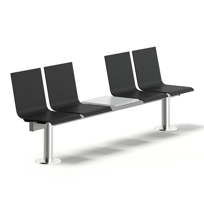 3D model black waiting chairs