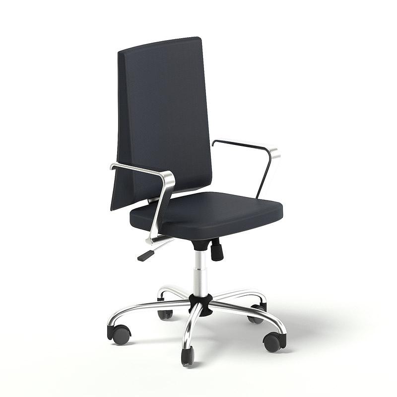 3D black swivel chair model