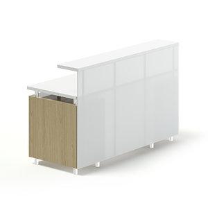 3D white wooden reception desk model