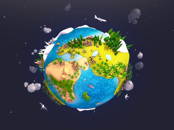 3D model cartoon earth planet