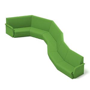 long green waiting sofa 3D model