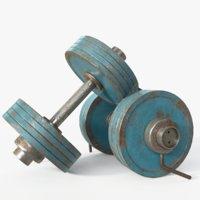 vintage dumbbells 3D model