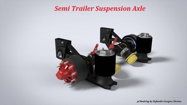 semi trailer axle 3D model