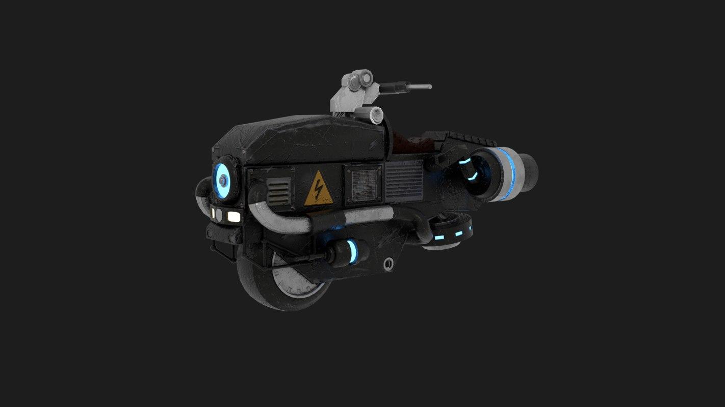 sci-fi flying motorcycle 3D model