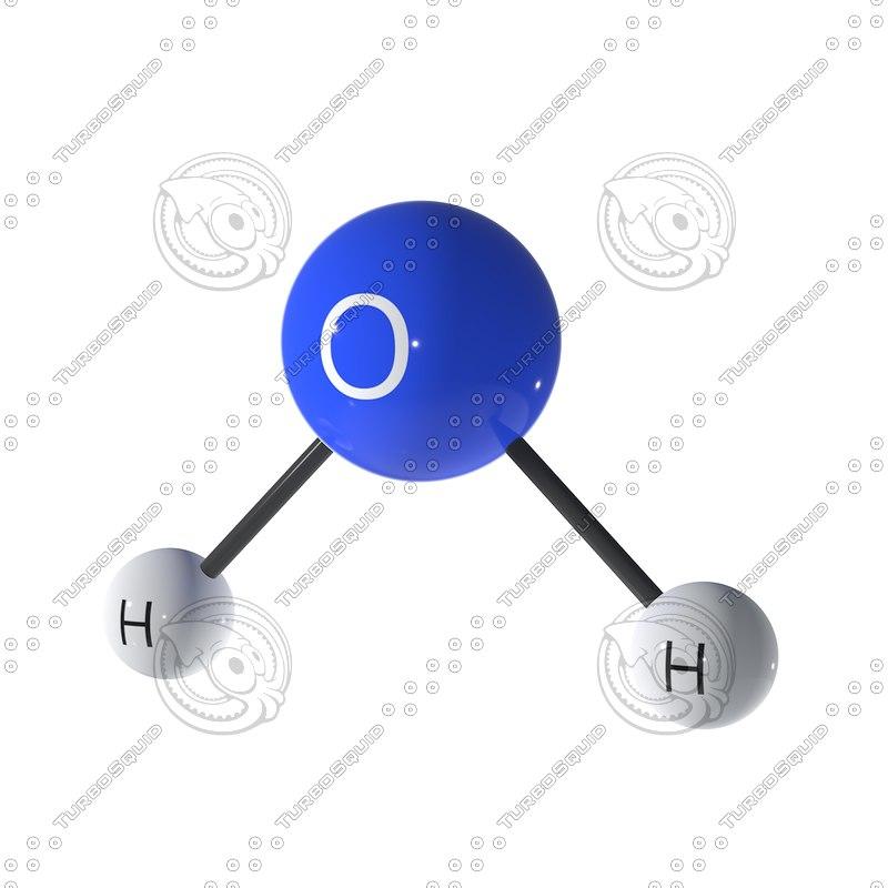 3D water molecule model