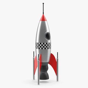 3D vintage toy rocket