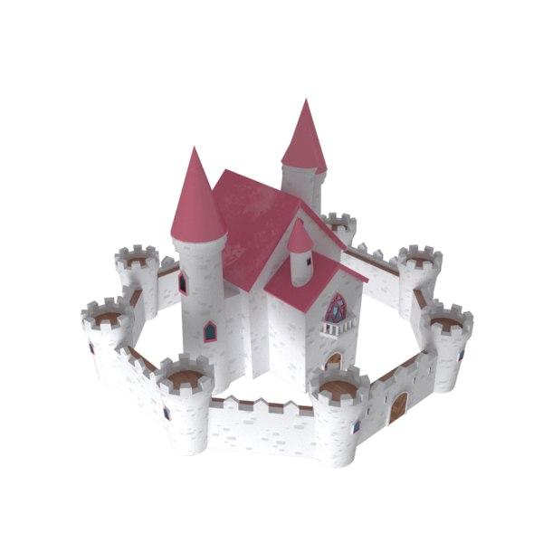 fantasy cartoon medieval castle 3D model