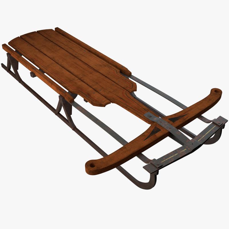 old wooden sledge 3D model
