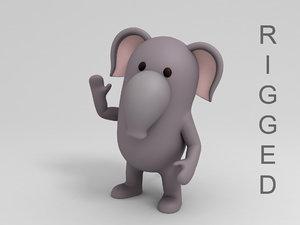 rigged elephant cartoon 3D