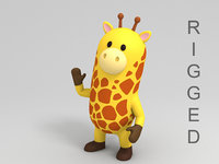 rigged giraffe cartoon model