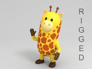 rigged giraffe cartoon model