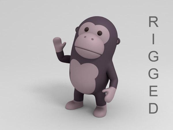 rigged gorilla cartoon 3D
