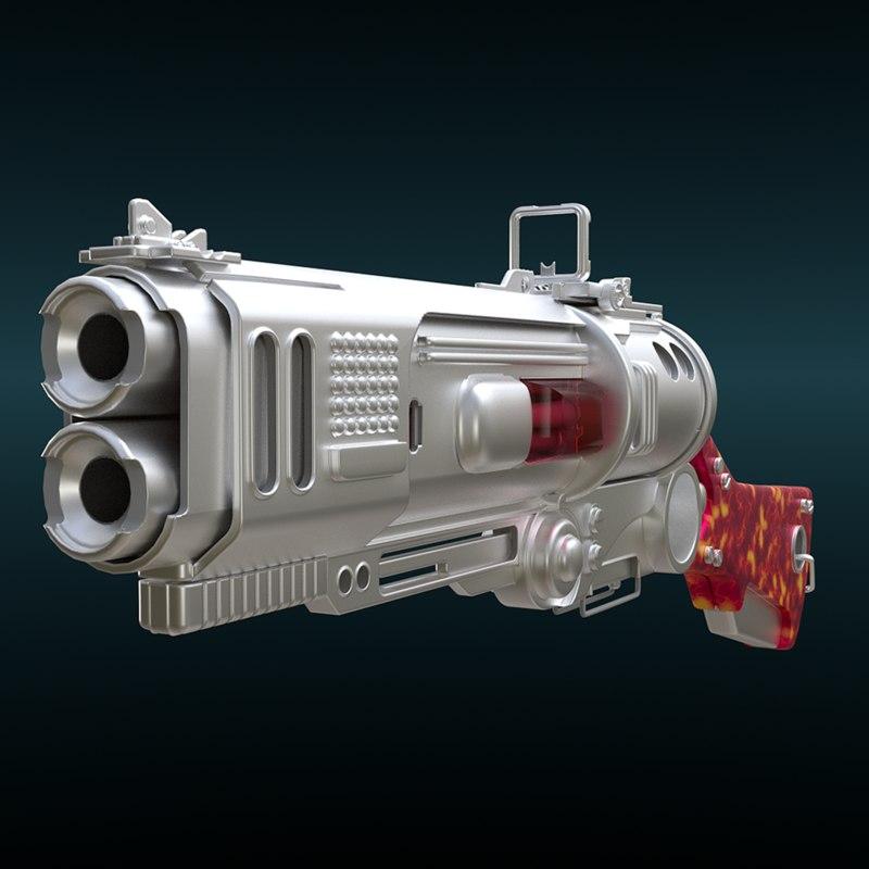 3D model gun futuristic