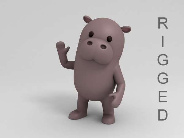 3D rigged hippopotamus cartoon