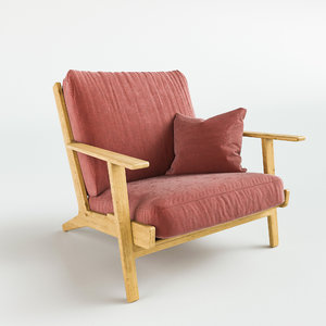 3D armchair gloss chair
