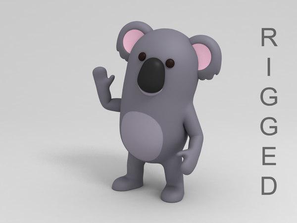 rigged koala cartoon 3D model