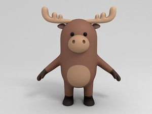 3D model moose cartoon