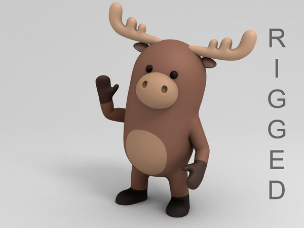 3D rigged moose cartoon
