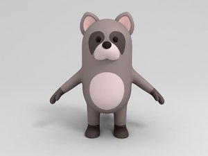 raccoon cartoon 3D