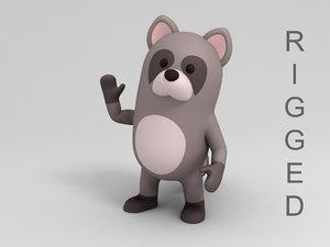 3D rigged raccoon cartoon model