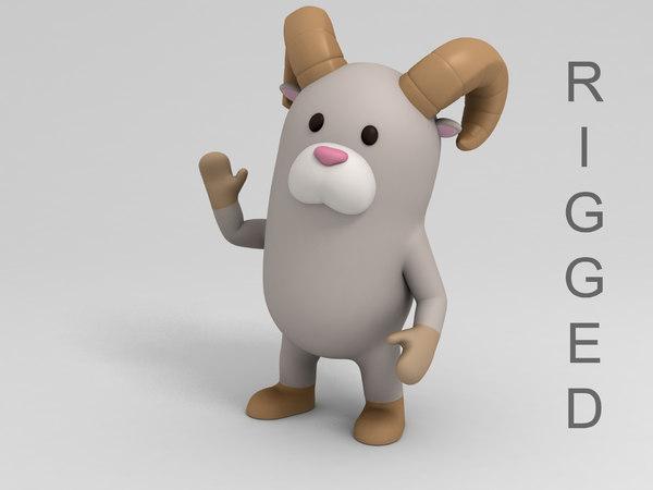 rigged ram cartoon model
