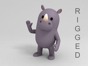 rigged rhinoceros cartoon 3D model