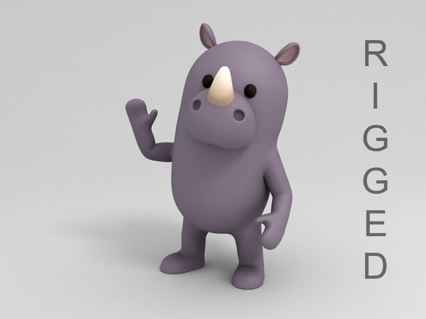 rigged rhinoceros cartoon 3D model