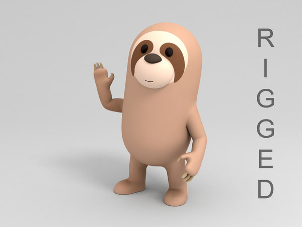 rigged sloth cartoon 3D model