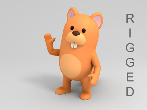 rigged squirrel cartoon 3D model