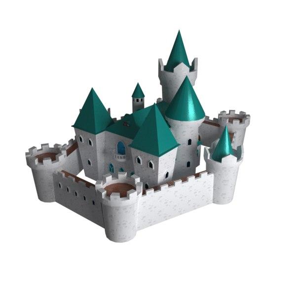 3D fantasy cartoon green castle model