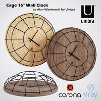 clocks umbra wall wood 3D model