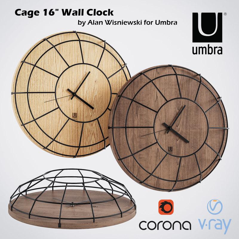 clocks umbra wall wood 3D model