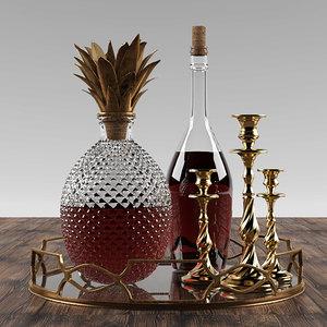 3D pineapple whisky set