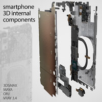 3D model smartphone components set phone