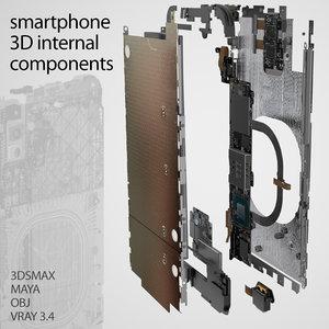 3D model smartphone components set phone