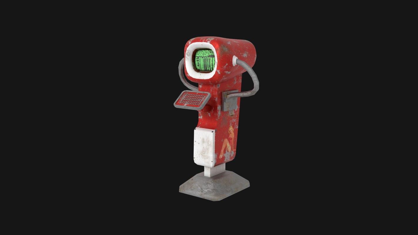 vintage futuristic terminal 3D model