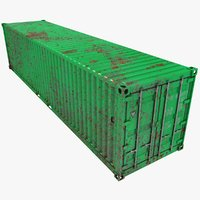 rusty container 40ft green 3D