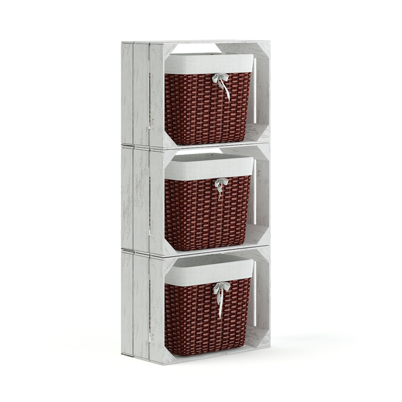 white basket shelf 3D model