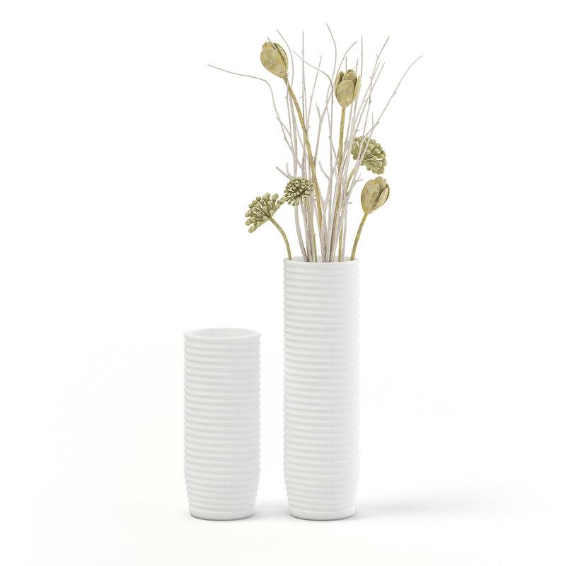 tall white decorative vase 3D