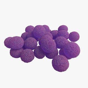 3D staphylococcus aureus bacteria model